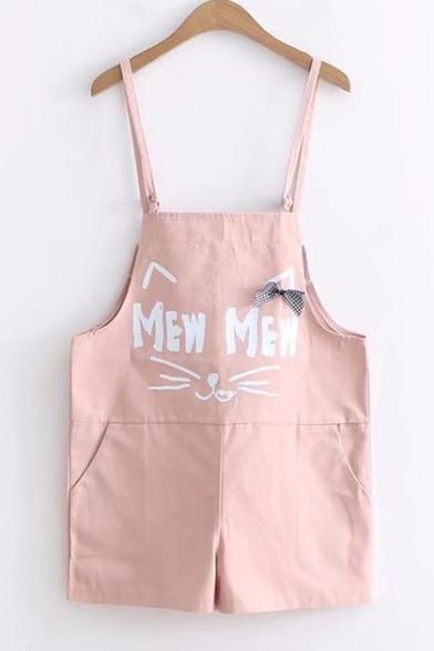 Fancy Cat Letter Print Pocket Detail Bow Embellished Summer Overall Romper Shorts
