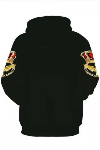 Unisex Leisure Long Crown Fancy Lion Hoodie Sleeves King Pattern Pullover nUxOBqxf