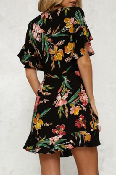 Hot Fancy Floral Print Plunge Neck Short Sleeve Bow Belted Mini A-line Dress