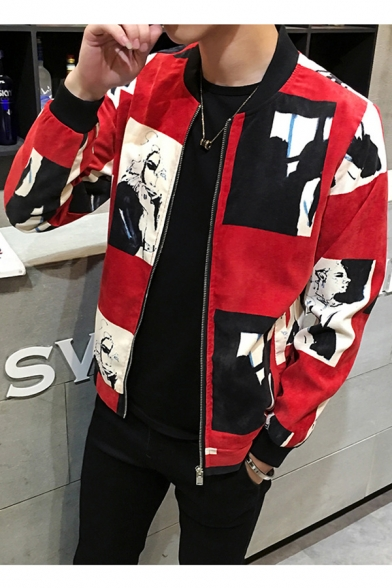 Hot Popular Printed Stand Up Collar Long Sleeve Zip Up Slim Baseball Jacket