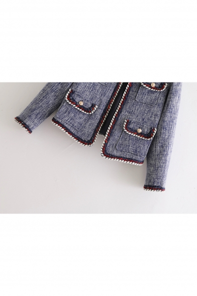 Ladylike Color Block Open Front Multiple Flap Pockets Cropped Coat