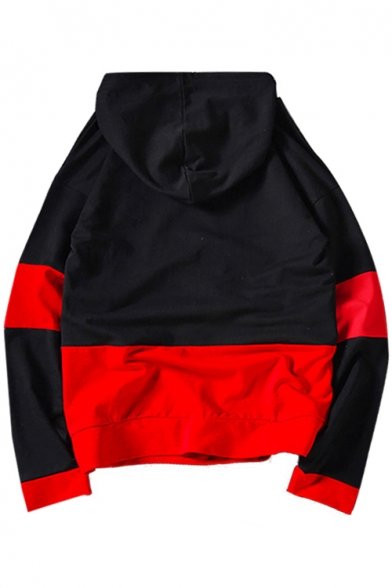Pocket Letter Leisure Hoodie with Color Sleeve Embroidered Block Long RqO6w4q