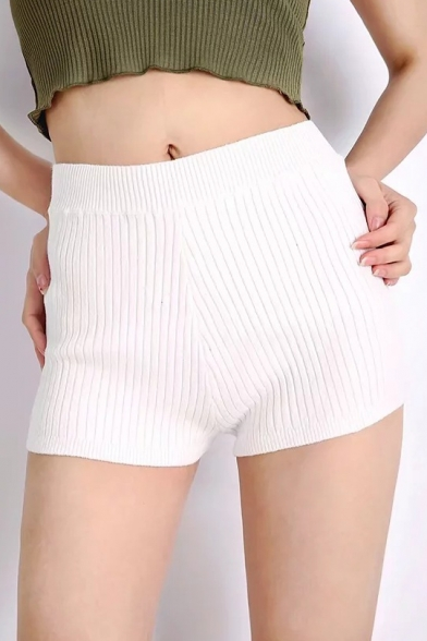 Leisure Fashion High Waist Plain Knitted Ribbed Slim Fit Skinny Shorts