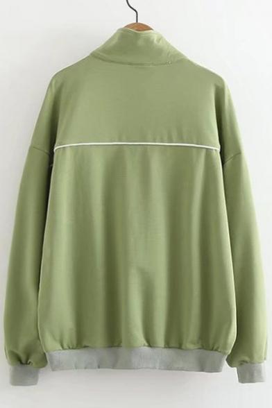 Front High Print Sweatshirt Pocket Lapel Zipper Detail Letter Pullover Leisure Neck 8EUwxFq5
