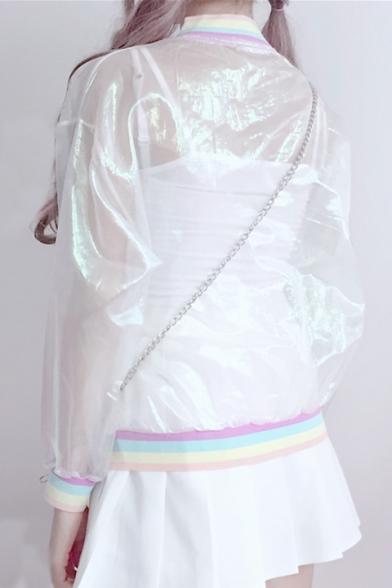 Fashion Pop Sun Up Rainbow Baseball Zip Trim Jacket Sleeve Long Striped dr1xqwpr