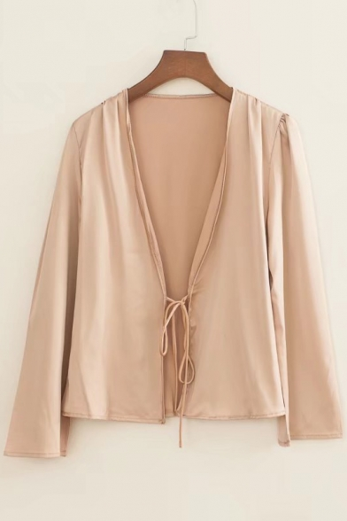Sexy Satin V Neck Tied Front Long Sleeve Plain Cropped Blouse