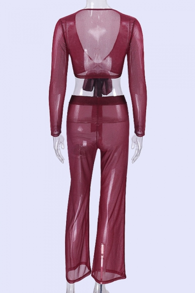 Sheer Waist Tee Neck Sexy Mesh Long Cropped Elastic ords Front Sleeve with V Co Tied Pants 7ttdqwz
