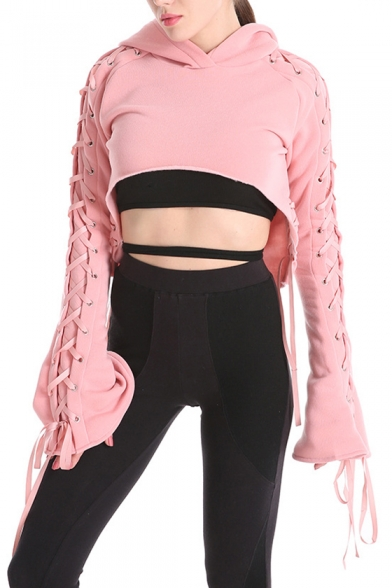 a74430b05fd9a ... Sexy Stylish Lace-up Detail Plain Dipped Hem Cropped Women s Hoodie ...