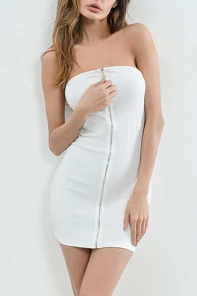 c3e31c5acdb3 Sexy Zip Up Front Ribbed Plain Mini Tube Bodycon Dress - Beautifulhalo.com