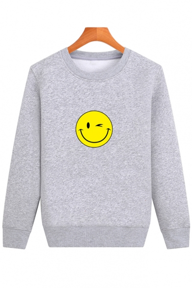 Printed Long Neck Round Smile Face Simple Sweatshirt Sleeve Pullover wEvX7qBB