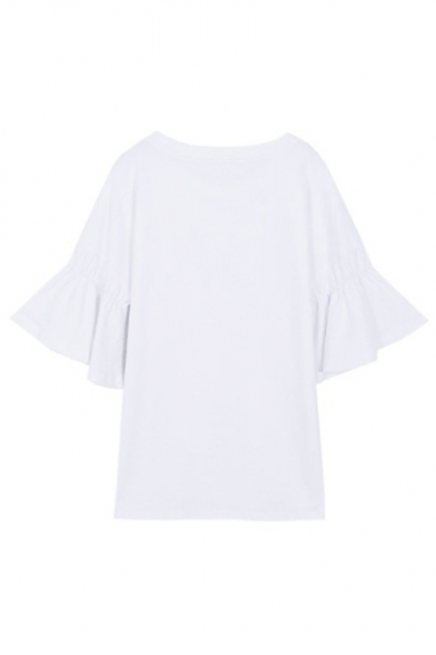 Ruffle Short Tee Neck Round Detail Face Sleeve Embroidered Smile Owa1qSB1