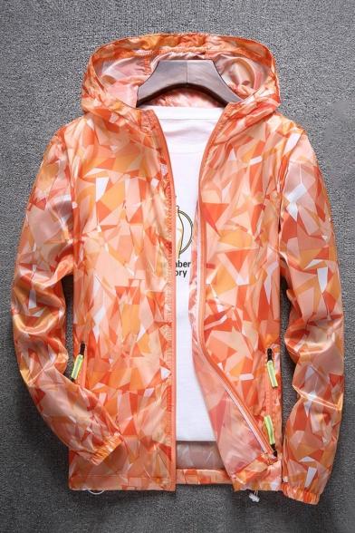 Spring Fashion Geometric Print Zip Up Hooded Long Sleeve Outdoor Sun Coat