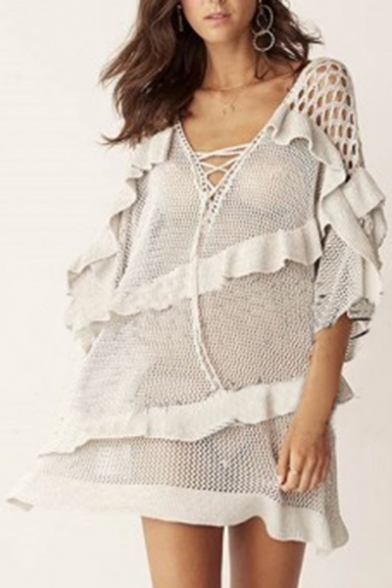 Neck Trendy Loose Net Beach Ruffle Detail Up Cover Lace Mesh V up Summer Z5w4fq5
