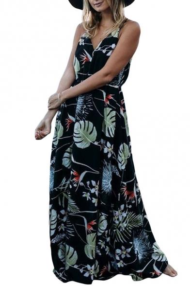 Vacation Fashion Spaghetti Straps Planet Leaf Print Maxi Beach Dress