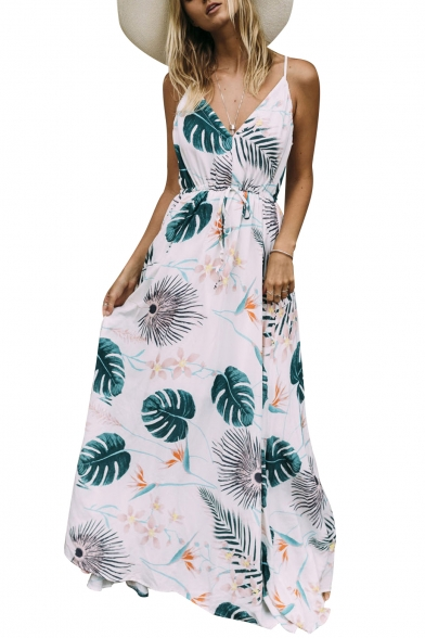 Vacation Fashion Spaghetti Straps Planet Leaf Print Maxi Beach Dress