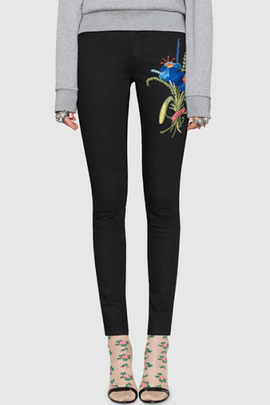 Women's Fashion Floral Embroidered Zipper Fly Pocket Detail Super Skinny Pants