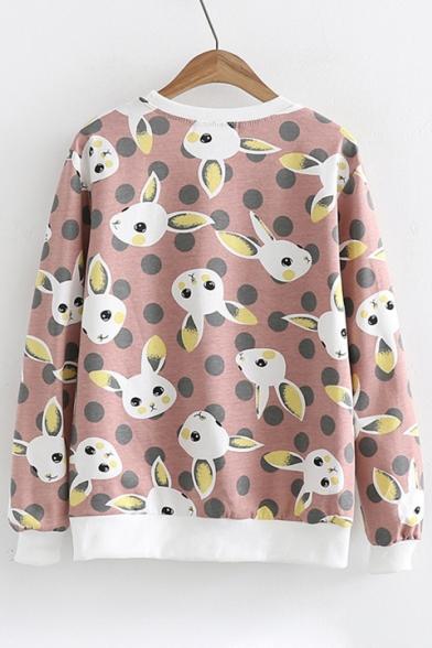 Dot Animal Sweatshirt Polka Pullover Long Round Cartoon Printed Sleeve Neck Ezdwqwx5S