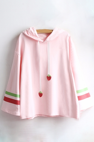 Strawberry Leisure Embellished Hooded Sleeve Striped Long Tee Loose Pattern Contrast x4qHO6w