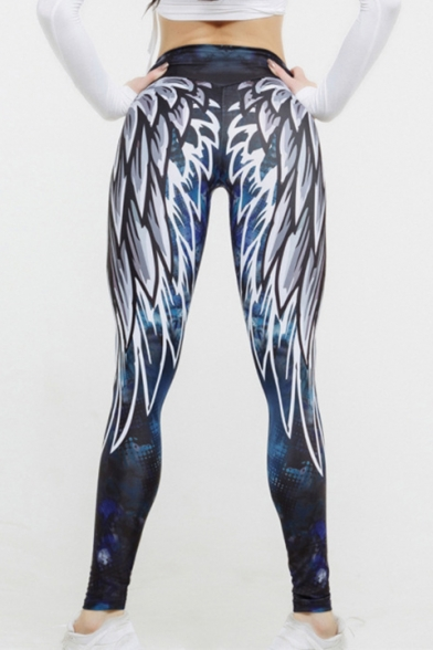 Cool Wing Feather Print High Waist Fashion Leggings