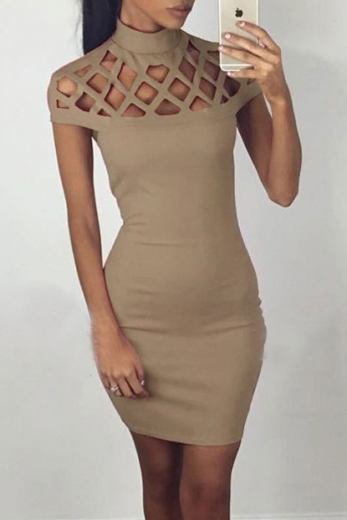 Elegant Lattice Shoulder High Neck Cap Sleeve Hollow Out Plain Bodycon Mini Dress, Black;green;pink;red;white;khaki