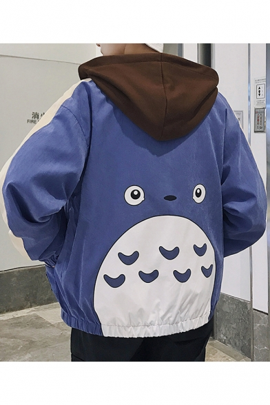 Lovely Cartoon Printed Back Color Block Hood Zip Up Unisex Coat