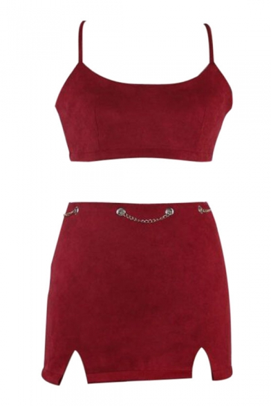 Skirt Up ords with Cropped Back Spaghetti Sexy Bodycon Straps Co Cami Sleeveless Mini Lace Fq5OP
