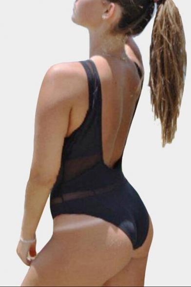 Sheer Mesh Insert V Neck Hollow Out Back Sleeveless One Piece Swimwear