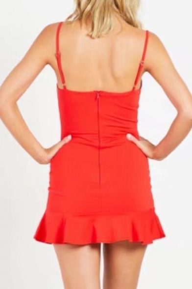 Simple Basic Plain Spaghetti Straps Sleeveless Ruffle Hem Detail Slim Mini Cami Dress