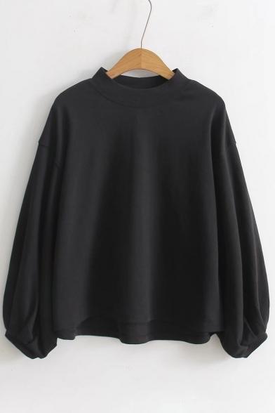 Spring Collection Blouson Long Sleeve Mock Neck Plain Dipped Hem Pullover Sweatshirt