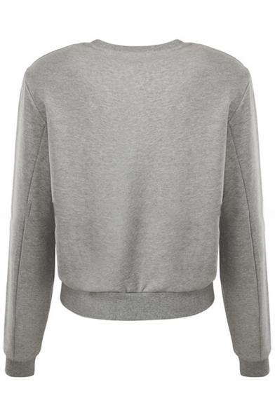 Long Cropped Sleeves Round Beaded Sweatshirt Eye Pattern Neck Stylish ZqHO0x