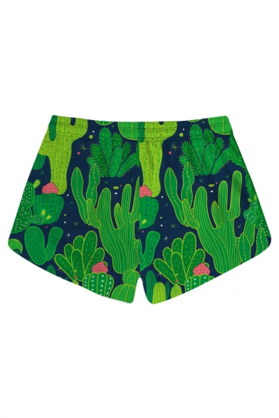 Summer Collection Cactus Printed Leisure Drawstring Waist Shorts with Pockets