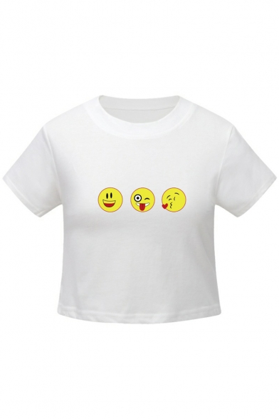 Short Sleeve Round Printed Neck Cropped Emoji Tee Chic xwaAqI7A