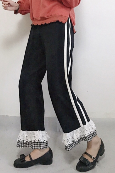 Chic Fashion Lace Insert Plaids Striped Pattern Loose Pants