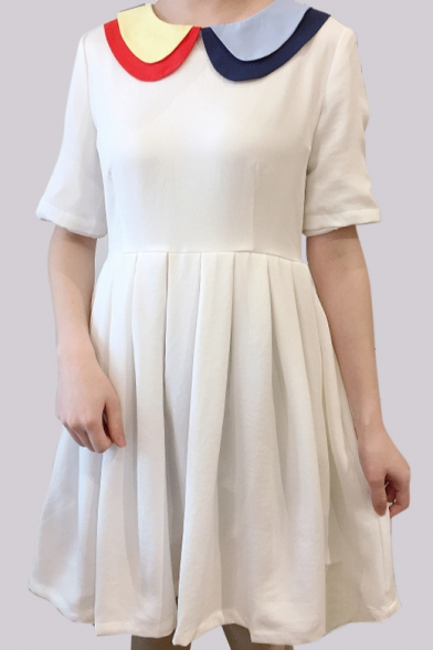 Childish Color Block Contrast Collar Simple Mini A-line Dress