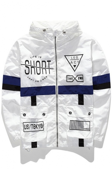 Color Block Letter Printed Zip Up Long Sleeve Hooded Dust Coat for Couple