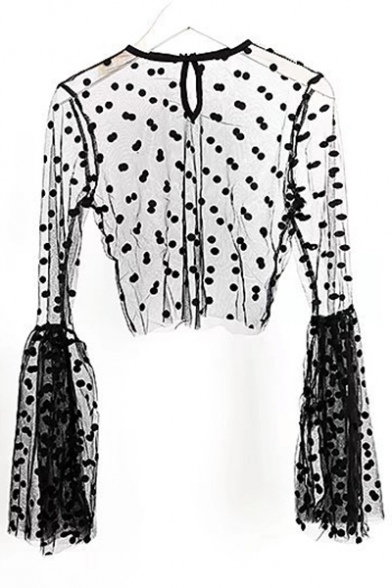 Through Fabulous Dotted Polka Sleeve Tee Cropped Back Design Keyhole Bell See Rq4xw8FR