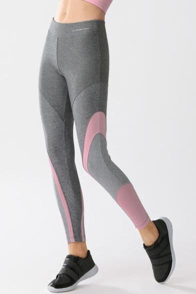 Fashion Color Block Elastic Waist Skinny Sports Leggings