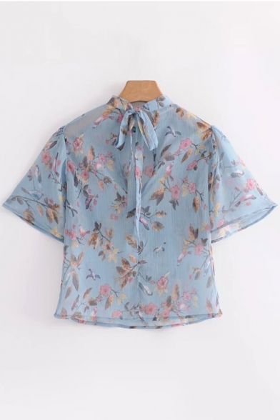 Cropped Blouse Fashionable Through Floral See Pattern Tie Bow Back qq60Rw8