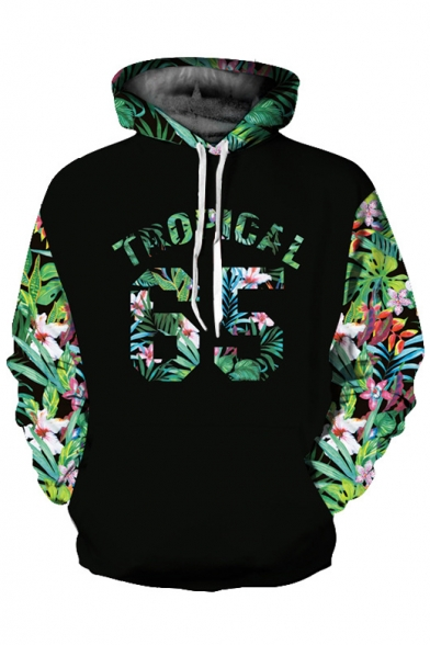 Printed Floral Long Leaf Leisure Couple for Letter Sleeve Hoodie qqzfwKFZEr