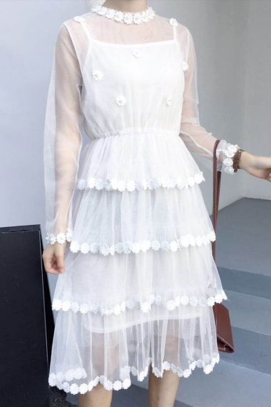 Pearl Midi Dress Embellished Floral Mesh Two Sleeve A Pieces Line Sheer Long r8r7RF