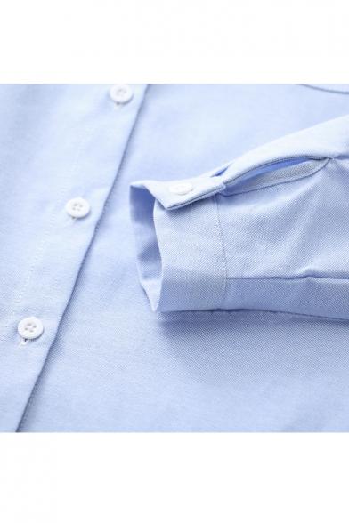 Pop Fashion Umbrella Embroidery Lapel Button Detail Long Sleeve Cup Pocket Shirt