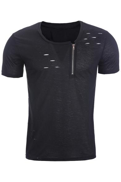 Detail Fashion Short Sleeves Summer Pop T Zipper Ripped Off Neck Round shirt 1UHqS7H