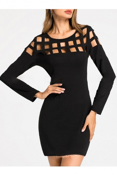 Popular Lattice Hollow Out Round Neck Long Sleeve Plain Mini Bodycon Dress