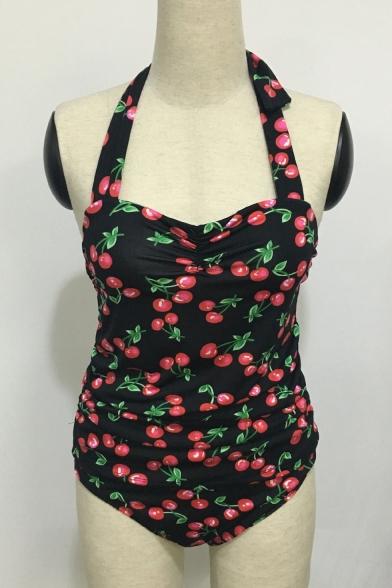 Retro Cherry Printed Halter Sleeveless One Piece Swimwear