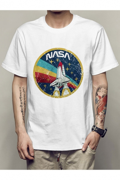 Retro Rocket Letter Print Round Neck Short Sleeves Casual Tee