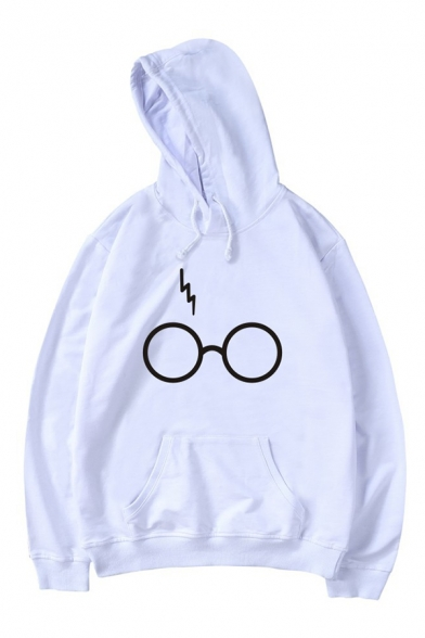 Long Pattern Sleeves Pocket Pullover Lightning Simple with Hoodie Eyeglasses qEx4tnwP