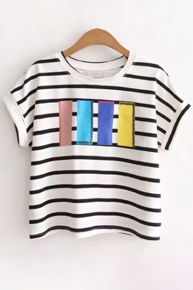 Sleeves Round Short Striped Stylish Cropped Print Neck Casual Tee xHXAnZU