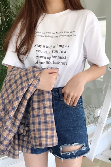 Neck Tee Summer Round Letter Fashion Print Casual Sleeves Short 6v6PqZW8