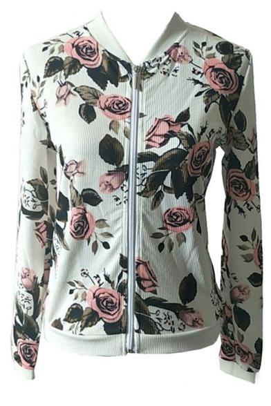 Chic Fashion Floral Print Long Sleeve Zip Up Baseball Jacket