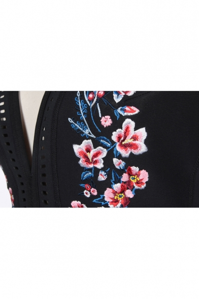 Embroidered Halter Out Swimwear Piece One Floral Hollow Chic Sleeveless Sexy Stxvq1